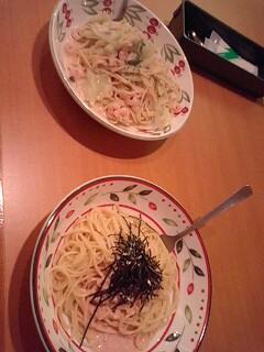 きゃべつとエビのクリームスパゲッティ
